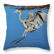 Great Blue Heron Landing In The Marsh Throw Pillow
