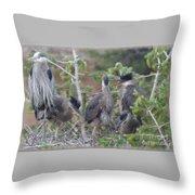 Great Blue Heron Nest Throw Pillow