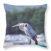 Great Blue Heron On Keuka Lake Horizontal Pano Throw Pillow