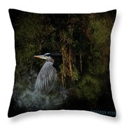 Great Blue Heron On The River Throw Pillow