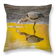 Great Blue Heron On Yellow Throw Pillow