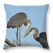 Great Blue Heron Pair Throw Pillow