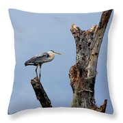 Great Blue Heron Perched Throw Pillow
