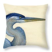 Great Blue Heron Portrait Throw Pillow