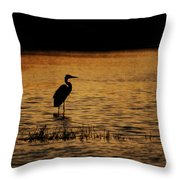 Great Blue Heron Silohuette Throw Pillow