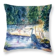 Great Blue Heron Square Cropped  Throw Pillow