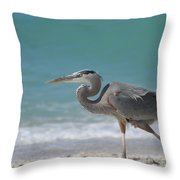 Great Blue Heron Strolling On The Beach Throw Pillow