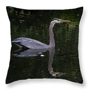 Great Blue Heron Swimming Throw Pillow