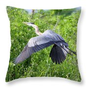 Great Blue Heron Takeoff Throw Pillow