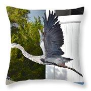 Great Blue Heron Taking Flight Throw Pillow