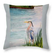 Great Blue Heron Two Throw Pillow