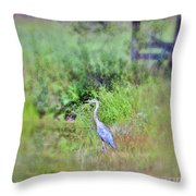 Great Blue Heron Visitor Throw Pillow