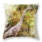 Great Blue Heron W C Throw Pillow