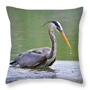 Great Blue Heron Wading Throw Pillow