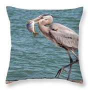 Great Blue Heron Walking With Fish #3 Throw Pillow