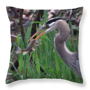 Great Blue Heron With His Catch Throw Pillow