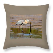 Great Blue Heron Wrestles A Snake Throw Pillow