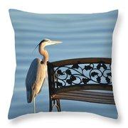 Great Blue Heron....resting My Leg Throw Pillow