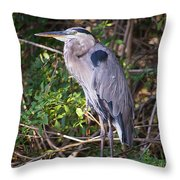 Great Blue Just Chillin' Throw Pillow
