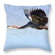 Great Blue Lift Off Series 4 Throw Pillow