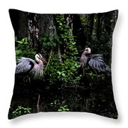 Great Blue Standoff In Watercolor Throw Pillow