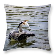 Great Blue With A Drum Throw Pillow