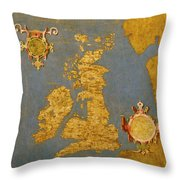 Great Bretain And Ireland Throw Pillow