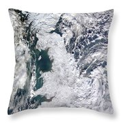 Great Britain Snowy Throw Pillow by Artistic Panda
