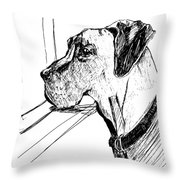 Great Dane Waiting Throw Pillow