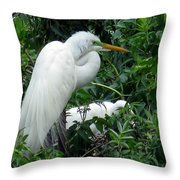 Great Egret 17 Throw Pillow