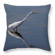 Great Egret Throw Pillow by April Wietrecki Green
