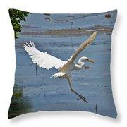 Great Egret Ascending Throw Pillow