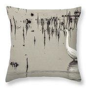 Great Egret At Horicon - B - W  Throw Pillow