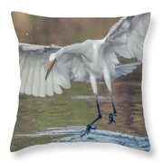 Great Egret Chase 072316-9861-2cr Throw Pillow
