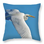 Great Egret Flying High Throw Pillow