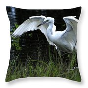 Great Egret Hunting Throw Pillow