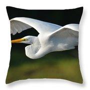 Great Egret In Flight Throw Pillow