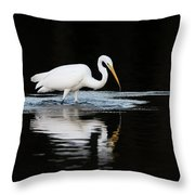 Great Egret Fishing In Early Morning Throw Pillow