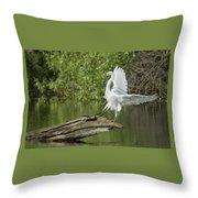 Great Egret Landing Throw Pillow