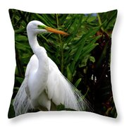 Great Egret Nesting Throw Pillow