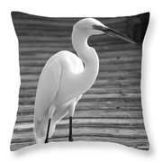 Great Egret On The Pier - Black And White Throw Pillow