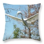 Great Egret Over The Treetops Throw Pillow