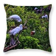 Great Egret Pair Throw Pillow
