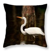 Great Egret Reflection Throw Pillow