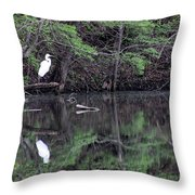 Great Egret Resting Throw Pillow
