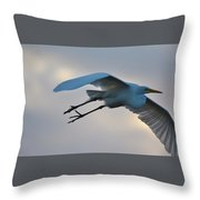Great Egret Soaring Gracefully Throw Pillow