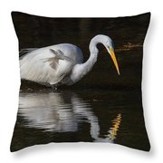 Great Egret Staring At His Reflection Throw Pillow