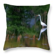 Great Egret Summer Pond Throw Pillow