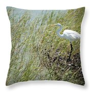 Great Egret Through Reeds Throw Pillow