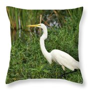 Great Egret Walking Throw Pillow
